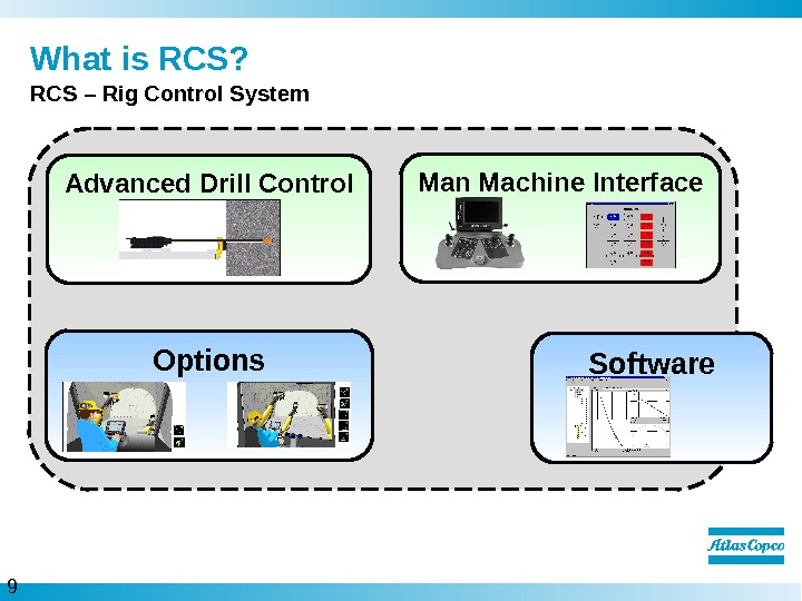 9  What is RCS? RCS – Rig Control System Software. Man Machine Interface Options. Advanced