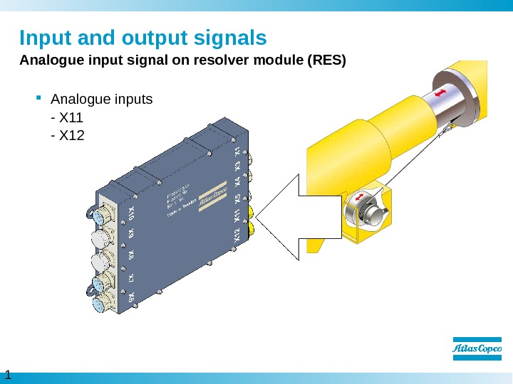 1 1  Input and output signals Analogue input signal on resolver module (RES) Analogue inputs