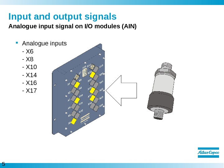5  Input and output signals Analogue input signal on I/O modules (AIN) Analogue inputs -