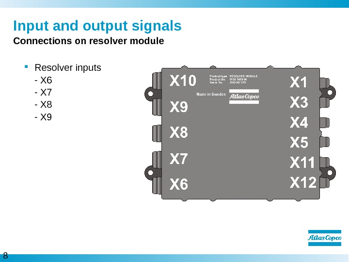 8  Input and output signals Connections on resolver module Resolver inputs - X 6 -