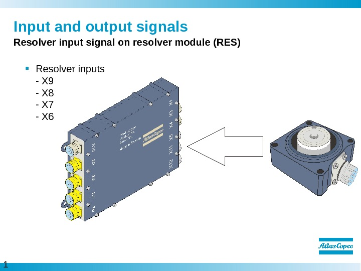 1 0  Input and output signals Resolver input signal on resolver module (RES) Resolver inputs