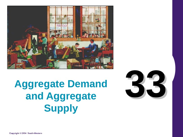 Copyright © 2004 South-Western 3333 Aggregate Demand Aggregate Supply