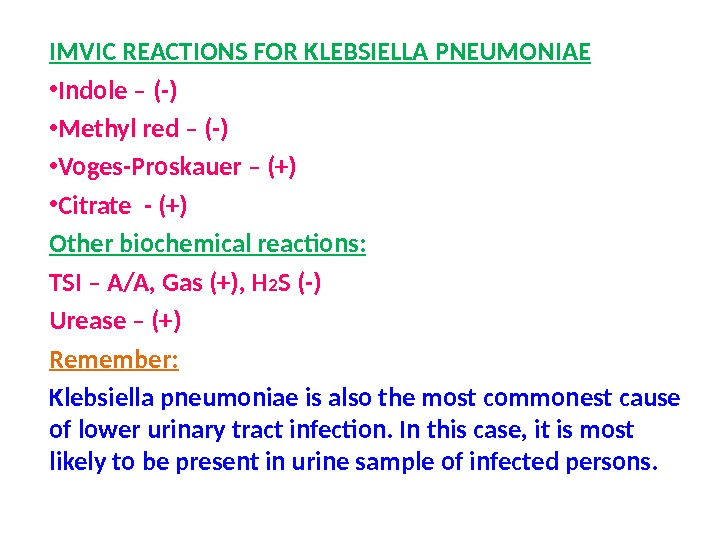 IMVIC REACTIONS FOR KLEBSIELLA PNEUMONIAE • Indole – (-) • Methyl red – (-) • Voges-Proskauer