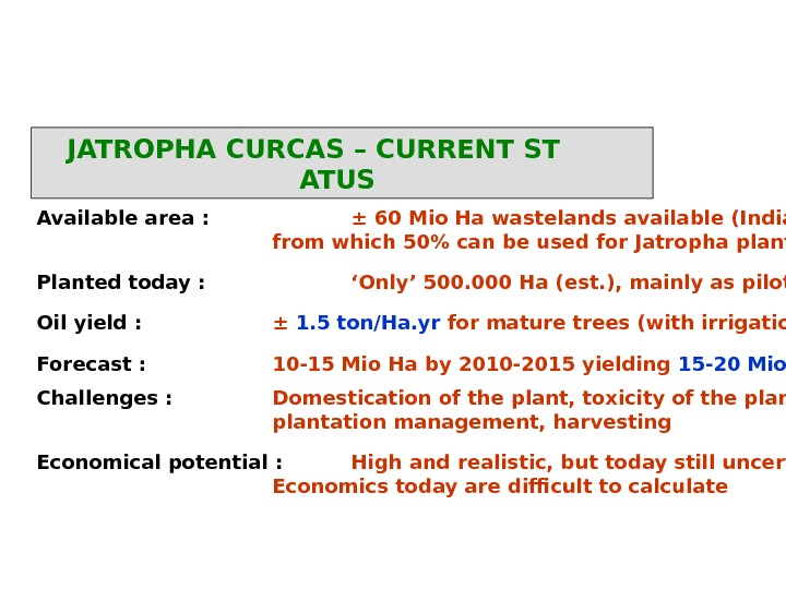 JATROPHA CURCAS – CURRENT ST ATUS Available area : ± 60 Mio Ha wastelands available (India,