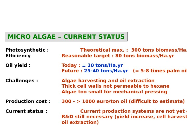 MICRO ALGAE – CURRENT STATUS Photosynthetic : Theoretical max. :  300 tons biomass/Ha. yr Efficiency