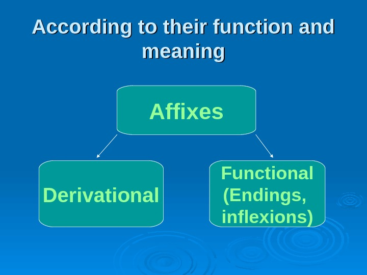 According to their function and meaning Affixes Derivational Functional (Endings,  inflexions)