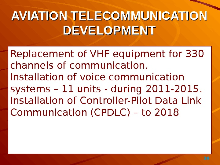 36AVIATION TELECOMMUNICATION DEVELOPMENT Replacement of VHF equipment for 330 channels of communication. Installation of voice communication