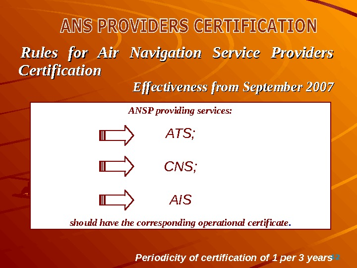 42Rules for Air Navigation Service Providers Certification Effectiveness from September 2007 ANSP providing services: ATS; CNS;
