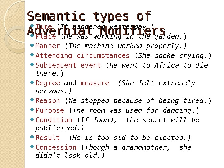 Semantic types of Adverbial Modifiers Time ( It happened yesterday. ) Place ( He was working