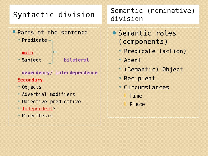 Syntactic division Semantic (nominative) division Parts of the sentence ◦ Predicate