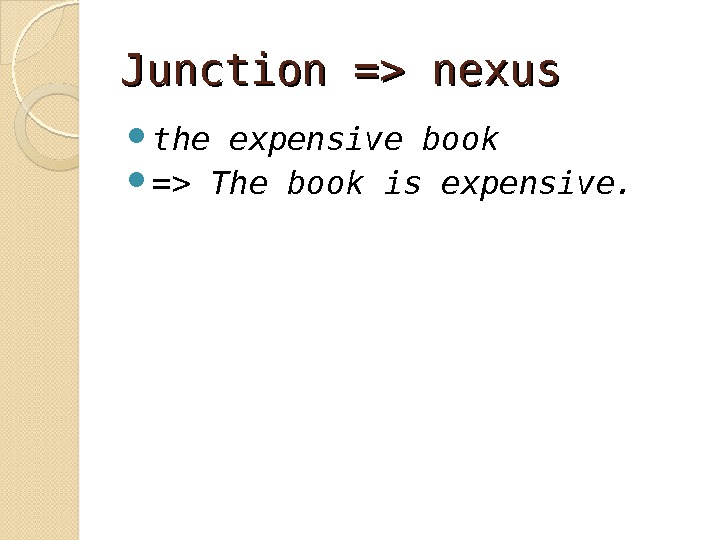 Junction = nexus  the expensive book  = The book is expensive.