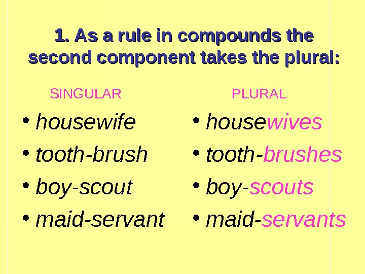 1. As a rule in compounds the second component takes the plural:
