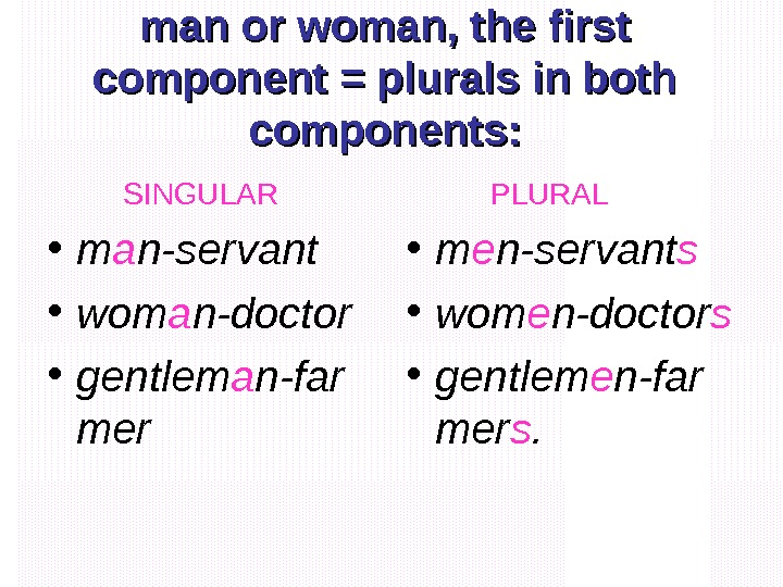 man or woman, the first component = plurals in both components:  SINGULAR •