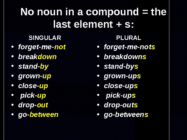 No noun in a compound = the last element + s:   SINGULAR