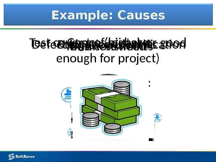 Budget constraints. Defect location identification. Test coverage (higher or good enough for project)Example: Causes It depends