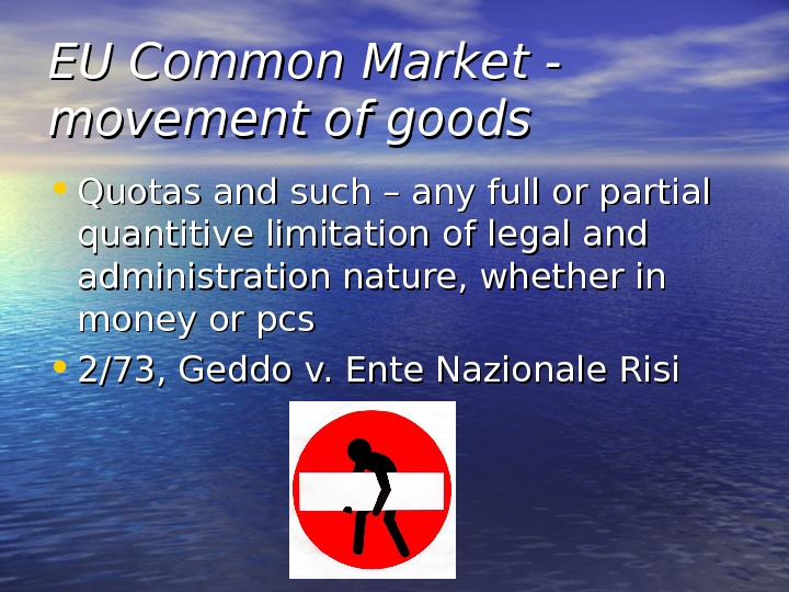 EU Common Market - movement of goods • Quotas and such – any full or partial
