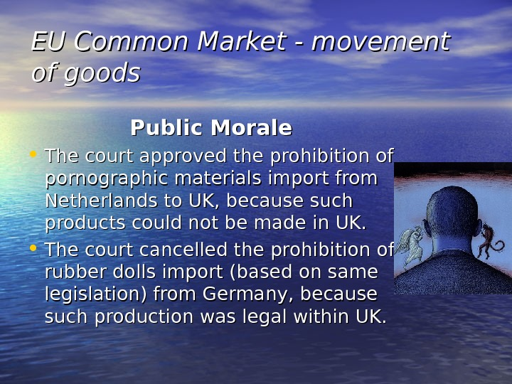 EU Common Market - movement of goods Public Morale • The court approved the prohibition of