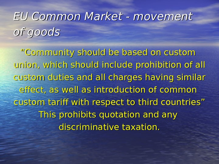 "EU Common Market - movement of goods  """" Community should be based on custom union,"
