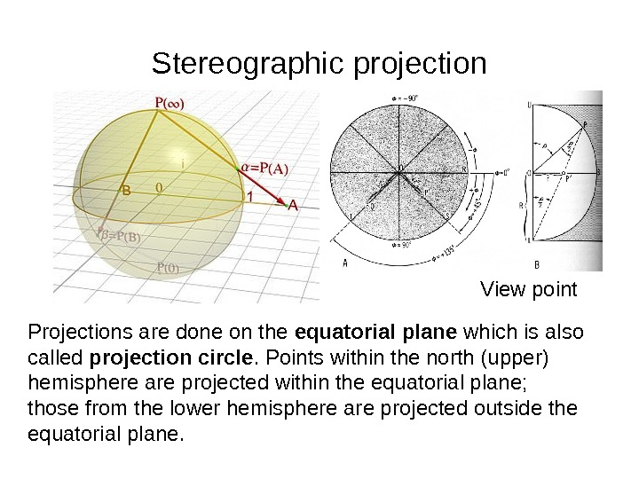 Stereographic projection Projections are done on the equatorial plane which is also called projection