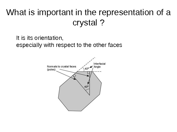 What is important in the representation of a crystal ? It is its orientation,