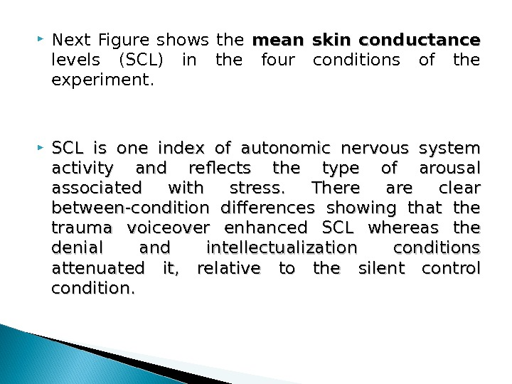 Next Figure shows the mean skin conductance levels (SCL) in the four conditions of the