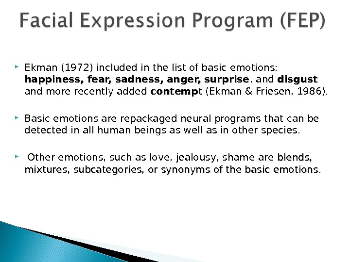 Ekman (1972) included in the list of basic emotions:  happiness, fear, sadness, anger, surprise