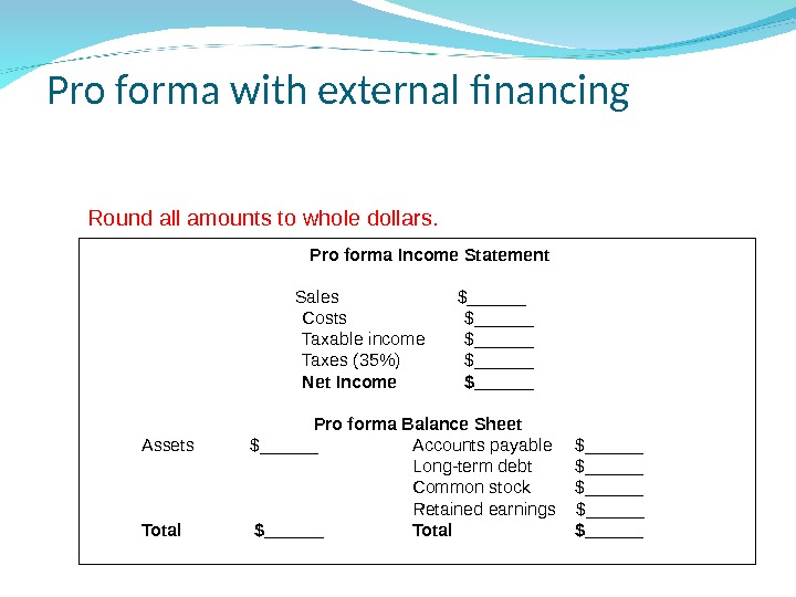 Pro forma with external financing Pro forma Income Statement Sales $______  Costs $______ Taxable income