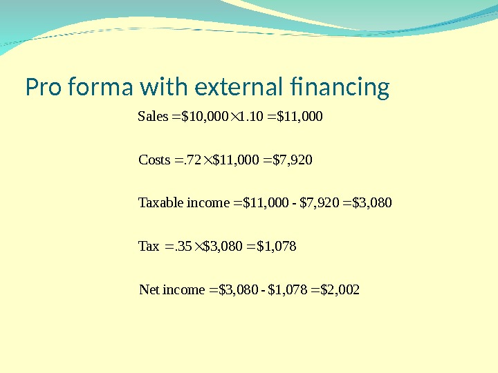Pro forma with external financing $2, 002 $1, 078 - $3, 080 income. Net $1, 078$3,