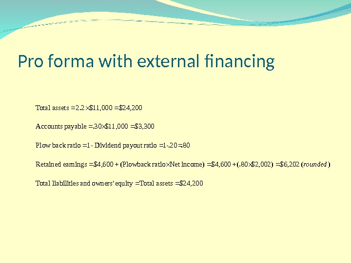 Pro forma with external financing $24, 200 assets Total equity owners' and sliabilitie Total )( $6,