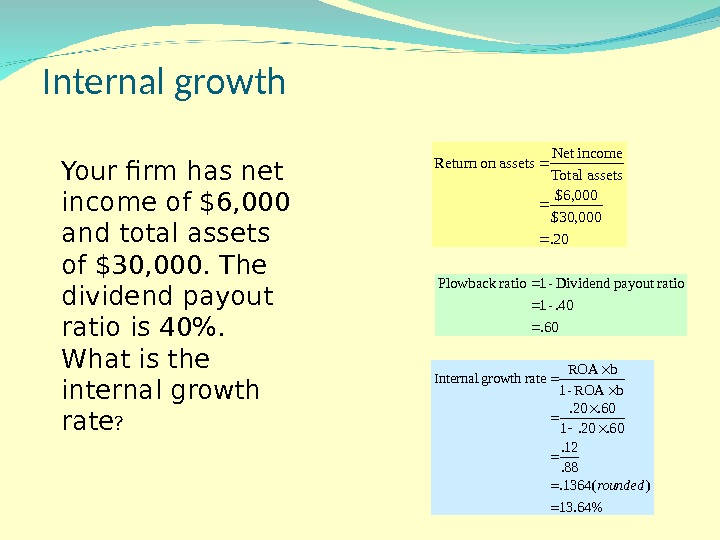 Internal growth Your firm has net income of $6, 000 and total assets of $30, 000.
