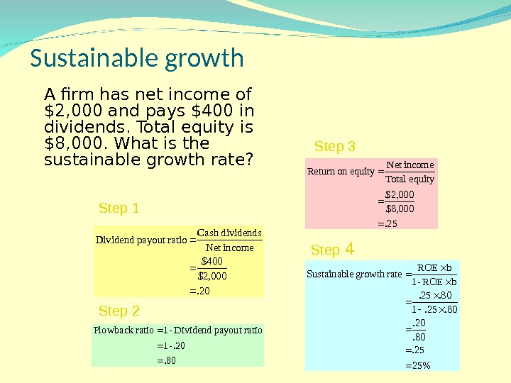 Sustainable growth A firm has net income of $2, 000 and pays $400 in dividends. Total