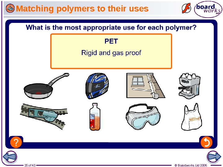 25 of 43 © Boardworks Ltd 2006 Matching polymers to their uses