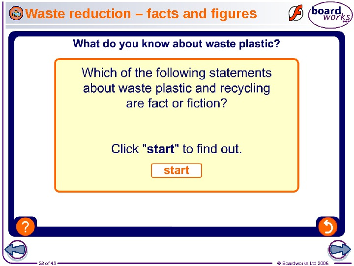 28 of 43 © Boardworks Ltd 2006 Waste reduction – facts and figures