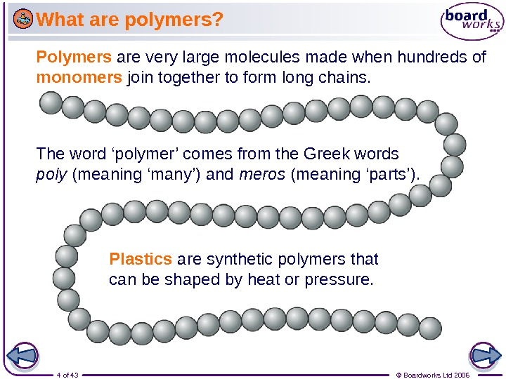 4 of 43 © Boardworks Ltd 2006 The word 'polymer' comes from the Greek words poly