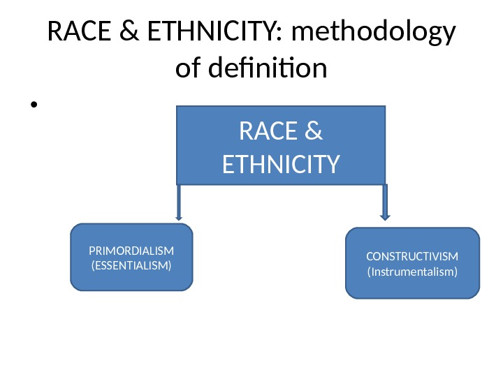 RACE & ETHNICITY: methodology of definition •  RACE & ETHNICITY PRIMORDIALISM (ESSENTIALISM) CONSTRUCTIVISM (Instrumentalism)