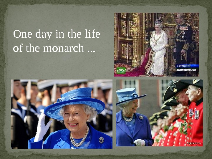 One day in the life of the monarch. . .