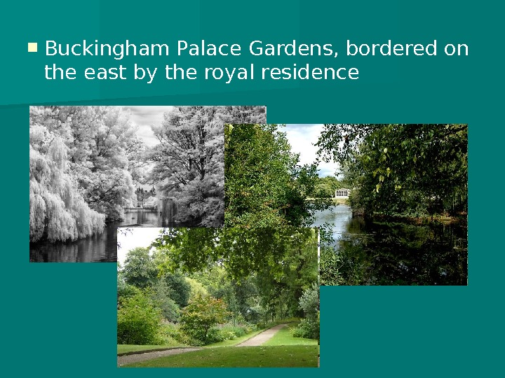 Buckingham Palace Gardens, bordered on the east by the royal residence