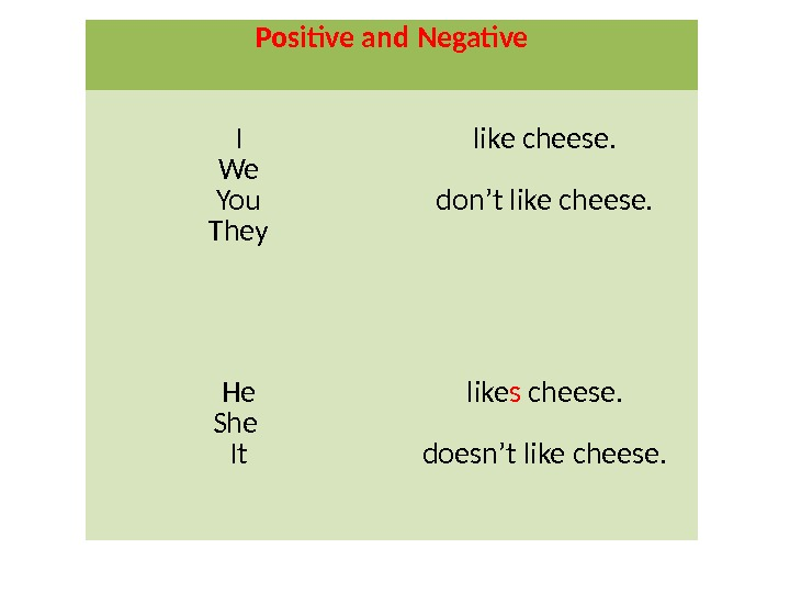 Positive and Negative I We You They like cheese. don't like cheese. He She It like