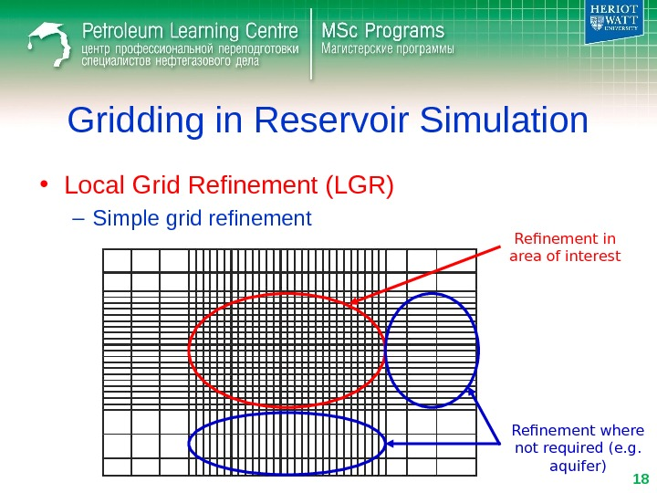 Gridding in Reservoir Simulation • Local Grid Refinement (LGR) – Simple grid refinement Refinement in area