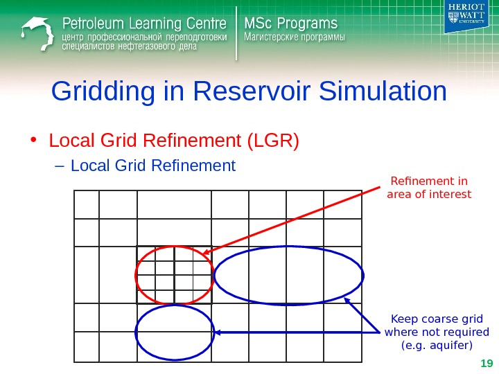 Gridding in Reservoir Simulation • Local Grid Refinement (LGR) – Local Grid Refinement in area of
