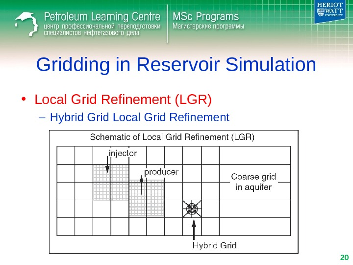 Gridding in Reservoir Simulation • Local Grid Refinement (LGR) – Hybrid Grid Local Grid Refinement 20