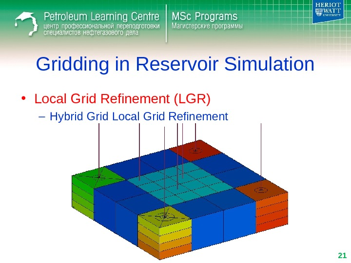 Gridding in Reservoir Simulation • Local Grid Refinement (LGR) – Hybrid Grid Local Grid Refinement 21