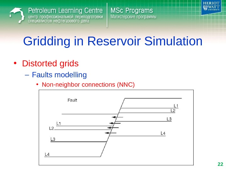 Gridding in Reservoir Simulation • Distorted grids – Faults modelling • Non-neighbor connections (NNC) 22