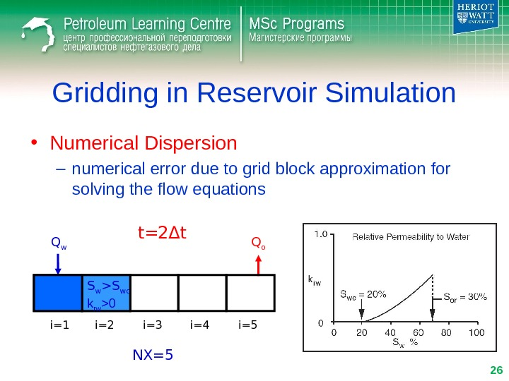 Gridding in Reservoir Simulation • Numerical Dispersion – numerical error due to grid block approximation for