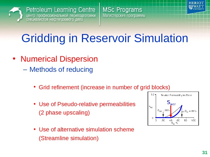 Gridding in Reservoir Simulation • Numerical Dispersion – Methods of reducing • Grid refinement (increase in