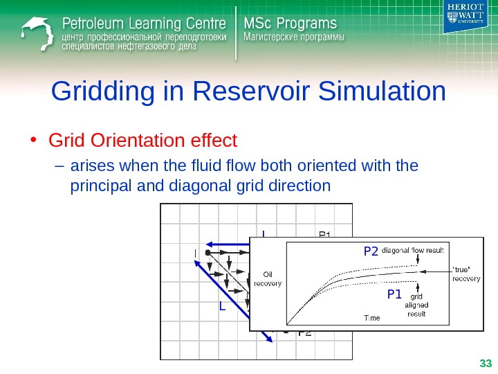 Gridding in Reservoir Simulation • Grid Orientation effect – arises when the fluid flow both oriented