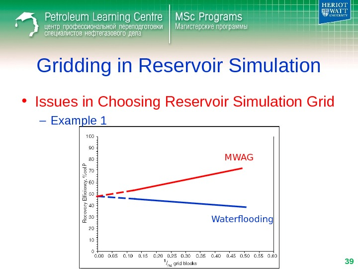 Gridding in Reservoir Simulation • Issues in Choosing Reservoir Simulation Grid – Example 1 MWAG Waterflooding