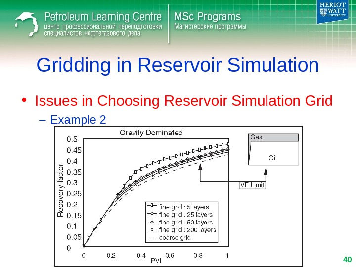 • Issues in Choosing Reservoir Simulation Grid – Example 2 Gridding in Reservoir Simulation 40