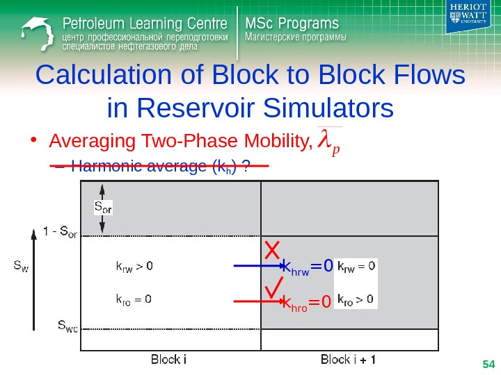 • Averaging Two-Phase Mobility, – Harmonic average (kh ) ? Calculation of Block to Block