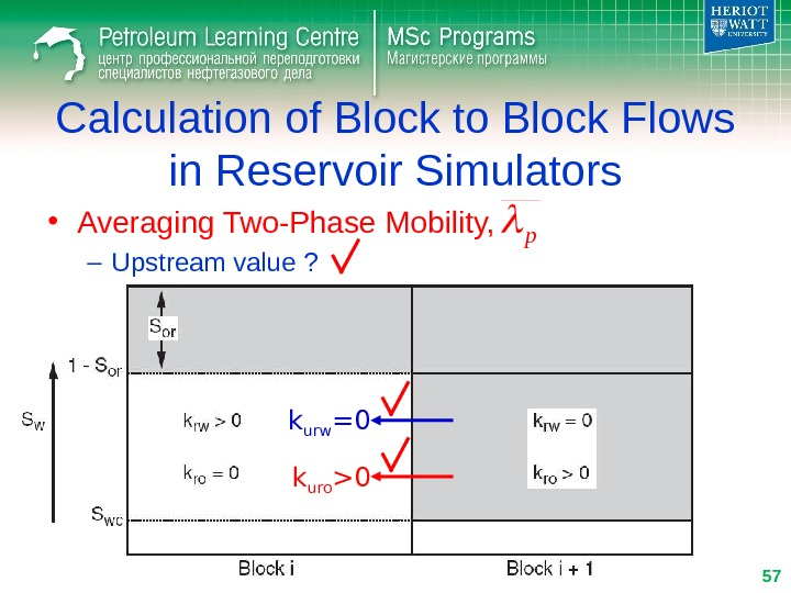 • Averaging Two-Phase Mobility, – Upstream value ? Calculation of Block to Block Flows in